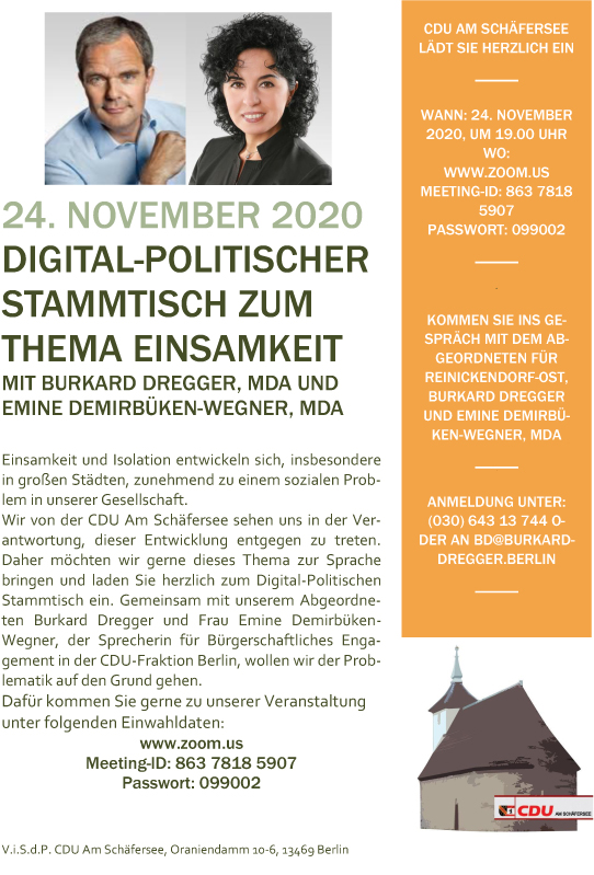 """Einladung """"Digital-Politischer Stammtisch zum Thema Einsamkeit"""" 24.11.2020"""